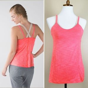 Lululemon Run For Gold Tank Top in Heather Coral 8